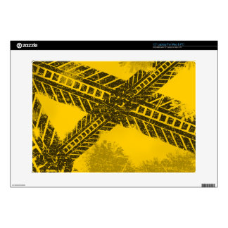 """Grunge distressed black tire track road marking decal for 15"""" laptop"""