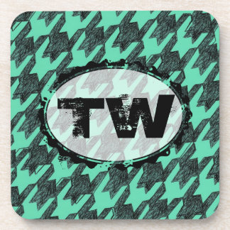 grunge distressed drawn houndstooth mint monogram beverage coaster