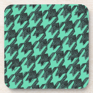 grunge distressed hand drawn houndstooth mint beverage coaster