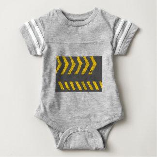 Grunge distressed yellow road marking baby bodysuit