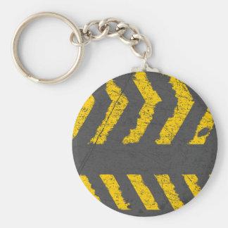 Grunge distressed yellow road marking keychain