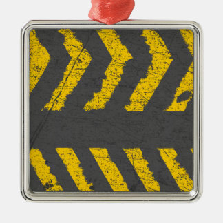 Grunge distressed yellow road marking metal ornament