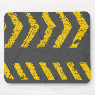 Grunge distressed yellow road marking mouse pad