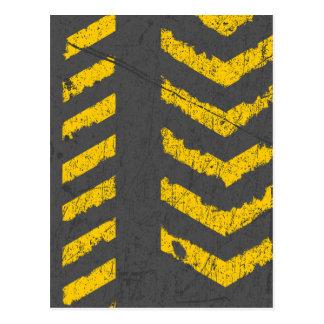 Grunge distressed yellow road marking postcard