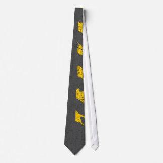 Grunge distressed yellow road marking tie