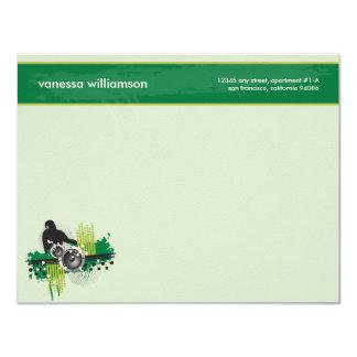 Grunge DJ Custom Flat Note Cards (green)