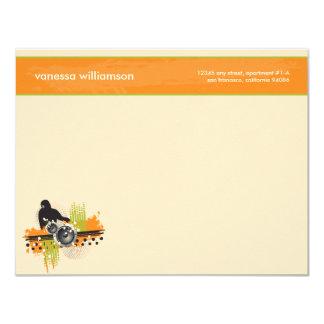 Grunge DJ Custom Flat Note Cards (orange)