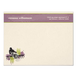 Grunge DJ Custom Flat Note Cards (purple)
