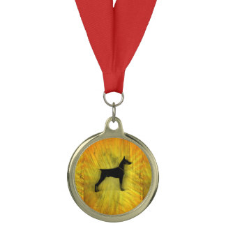 Grunge Doberman Pinscher Silhouette Medal