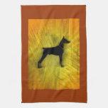 Grunge Doberman Pinscher Silhouette Towel