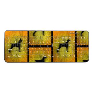 Grunge Doberman Pinscher Silhouette Wireless Keyboard
