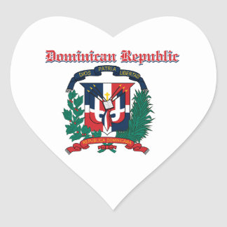 Grunge Dominican Republic coat of arms designs Heart Sticker