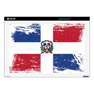 "Grunge Dominican Republic Flag 17"" Laptop Skin"
