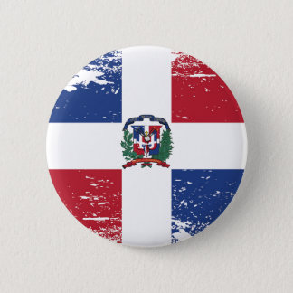Grunge Dominican Republic Flag Button