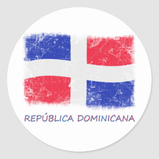 Grunge Dominican Republic Flag Classic Round Sticker