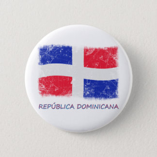 Grunge Dominican Republic Flag Pinback Button