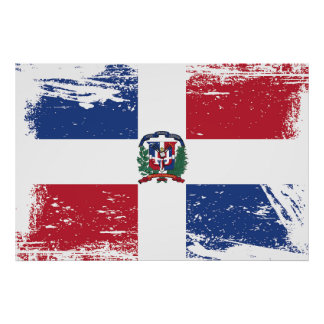 Grunge Dominican Republic Flag Poster