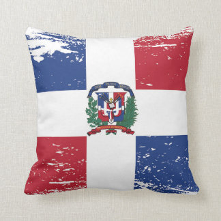 Grunge Dominican Republic Flag Throw Pillow