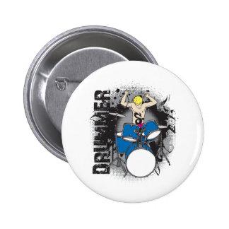 Grunge Drummer Pinback Button
