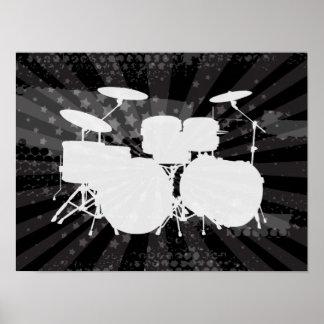Grunge Drums Black Burst Poster
