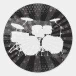 Grunge Drums Black Burst Round Stickers