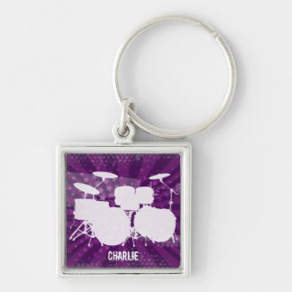 Grunge Drums Purple Burst Keychain