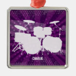 Grunge Drums Purple Burst Metal Ornament
