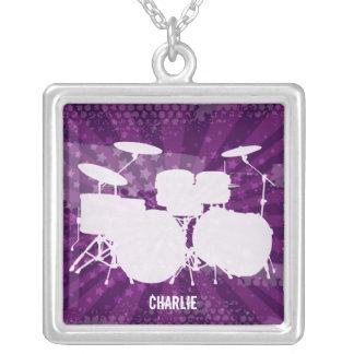 Grunge Drums Purple Burst Necklace