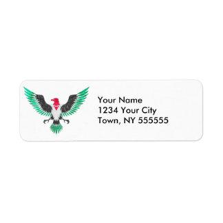 Grunge Eagle Palestine Flag Colors Label