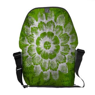 Grunge Eastern Flower on Green Background Messenger Bag