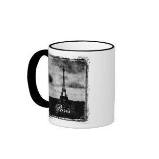 Grunge Edge Textured Paris Ringer Coffee Mug