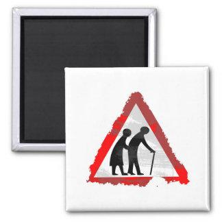 Grunge Elderly People Sign 2 Inch Square Magnet
