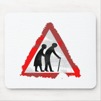 Grunge Elderly People Sign Mouse Pad