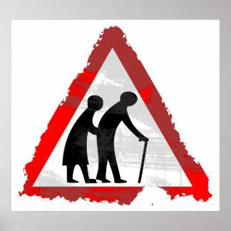 Grunge Elderly People Sign Posters