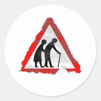 Grunge Elderly People Sign Round Stickers