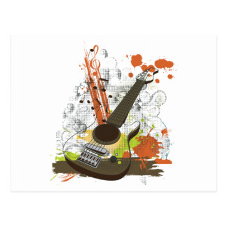 grunge electric guitar postcards