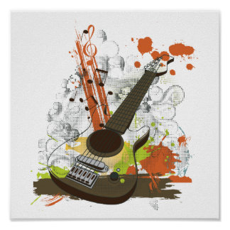 grunge electric guitar poster