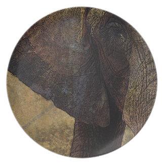 Grunge, elefante africano majestuoso del pergamino platos