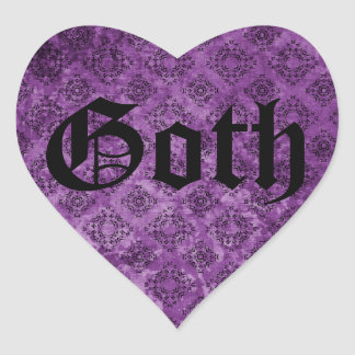 Grunge elegante gótico de la púrpura del victorian pegatina en forma de corazón