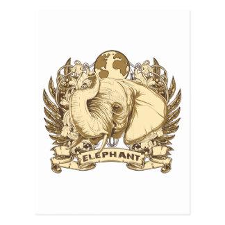 Grunge Elephant Postcard