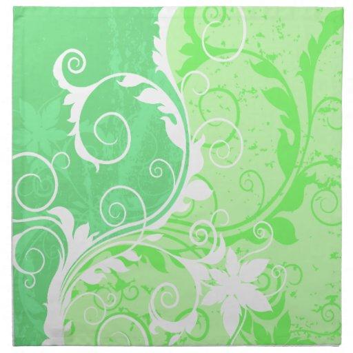 Grunge en colores pastel del verde y blanco servilleta
