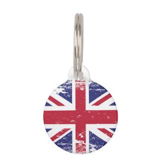 Grunge England Flag Pet ID Tag