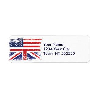 Grunge English American Flag 2 Label