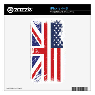Grunge English American Flag 2 Skins For The iPhone 4S