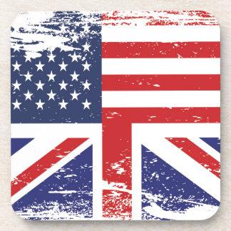 Grunge English American Flag 3 Coaster