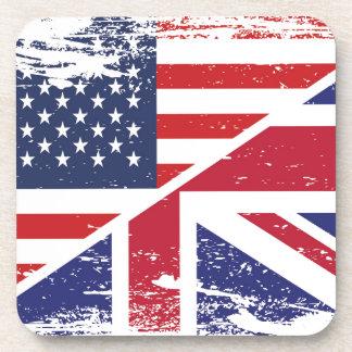 Grunge English American Flag Beverage Coaster