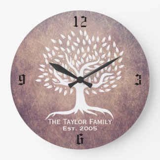 Grunge establecido familia del apellido del árbol reloj redondo grande