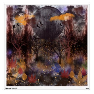 Grunge Fall Forest, digital painting Wall Decal