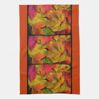 Grunge Fall Leaves Kitchen Towel