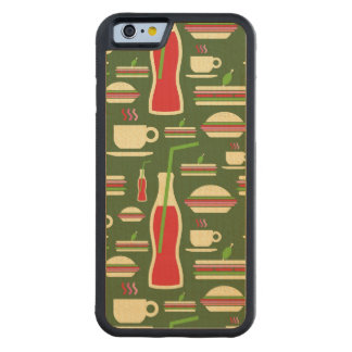 Grunge Fast Food Icons Set Pattern Carved Maple iPhone 6 Bumper Case